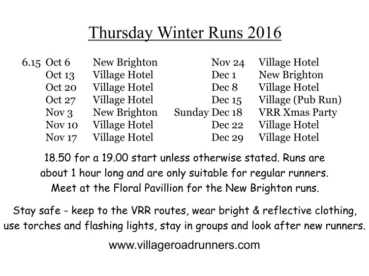 11 First Winter Runs list for Tony